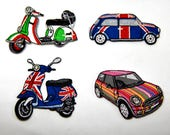 Scooters and Minis Beautiful Quality Embroidered Iron on Motifs/Patches Appliqué Patches Union Jack