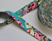 Bias Binding Hawaiian Rose Print on Rich Aqua/Turquoise Background 100% Cotton Sold By The Metre 25mm Wide