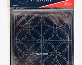"Sashiko 4"" Template Seigaiha (Waves) Design or Shippou (Seven Treasures) Design - Scallop, Flowers, Trellis"