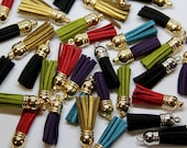 Faux Leather Tassels - Beautiful Quality Tassels in Red, Teal, Black, Purple, Gold, Green - Approx 6cm Long