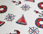 High Quality Embroidered Iron-on Nautical Themed Motifs/Patches - Life Buoy, Compass, Yacht/Sailboat, Anchor