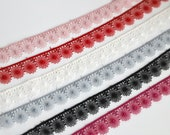 Delicate Lace Trim - Fine Floral Spirograph Design - 16mm Wide - Dusky Pink, Fuchsia,Ivory, Black, Red and Silver Grey