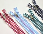 Gingham Zipper - Red, Sky Blue, Black, Green - Closed End Decorative dress Zip - 20cm