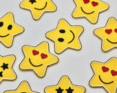 Emoji Star Iron on Patches - 5cm - Cute Kids Patches