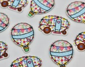 Hot Air Balloon and Caravan Iron on Motifs/ Embroidered Patches - High Quality Patch
