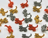Novelty Striped Cat Tiger Buttons - Orange/Grey/Mustard