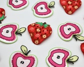 Apple and Strawberry Iron-On Motifs Cute Printed Embroidered Iron-On Patches