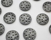 Carved Corozo Button - Natural Grey - Two Hole Button 29mm