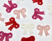 Lace Bow Patches/Delicate Lace Iron-On Bow Motifs - High Quality - 3.5cmx4cm - Dusky Pink Raspberry Pink Red Ivory