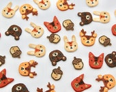 Novelty Embroidered Felt Animal Buttons - Woodland Buttons - Deer, Rabbit, Fox, Bear and Acorn