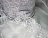 White Lace Trim - Exquisite Quality Wedding Bridal Lace Trim in White - Vintage Style Lace/Dressmaking Lace/Lingerie Lace/Bra Making Lace/