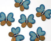 Embroidered Butterfly Iron On Patch - Turquoise/Gold Appliqué Motif
