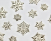 Delicate Metallic Silver Embroidered Snowflake Motifs - 2cm, 4cm -- Iron on Snowflake Patches