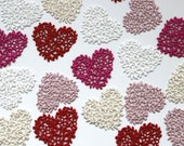 Guipure Lace Embroidered Heart Patch - Floral Bridal Valentine - Red, Hot ink, Blush, Ivory, White