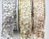 Flower Sequin Wired Ribbon Trim 38mm Wide - Gold, Silver, Rose Gold - Sold by the Metre