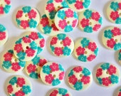 Pair of Printed Floral Two Holed Plastic Buttons - 17mm - Cream, Pink and Aqua