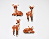 Doe Deer Iron on Patches - Cute Bambi Motifs for Embellishment - Embroidered Children's Patch