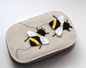 Sewing Kit with Appliqué/Embroidered Bee Design - Handy Travel Size Sewing Kit - 10 x 14.5 x 3.5cm