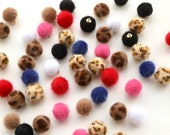 Furry Pom Pom Buttons with Golden Metal Shank Back - 14mm - Lots of Colours!