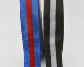 Ribbed Metallic Striped Wide Waistband Elastic 40mm Wide Black/Silver, Royal Blue/Red