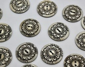 Large Domed Sunflower Bone Button Floral Design 32mm