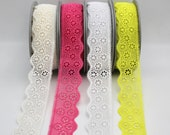 Beautiful Quality Floral Guipure Lace - Retro Daisy - Pink/Lemon Lime/White - 40mm Wide