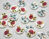 Flat Chunky Natural Mother of Pearl Buttons with Digital Print Floral Design 18mm in Red Rose or Blue Anemones