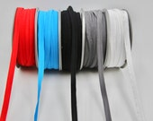 Super Soft Plush Elastic Piping with Flange -- 10mm Wide, Red, Blue, Turquoise, Black, Grey, White