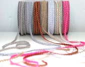 Delicate Metallic Christmas Braid Trim - Red, Gold, Silver, White, Neon Pink - 7mm wide
