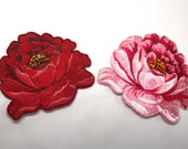 Iron on Motifs/Patches - Peony Roses - Embroidered Satin Motifs - Pink and Red Peony Rose Blooms - Embellishments