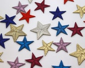 Embroidered Red and Metallic Star Motifs - 3x3cm Star Appliqué Patch - Christmas Motif, Celestial, Superb Quality
