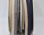 Two-Tone Metallic Plush Elastic 2cm Wide Navy/Rose Gold or Pewter/Rose Gold