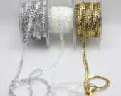 Micro Tinsel Trim Perfect for Gift Wrapping, Card making, Scrap-booking,  Available in White Iridescent or Gold