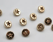 Small Round Metal Star Cut Out Buttons in Gold/Rose Gold 1cm/10mm