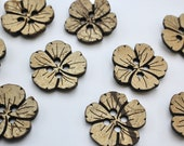Laser Etched Flower Coconut Button Extra Large 46mm 100% Coconut Shell