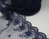 Navy Blue Lace - Exquisite Quality Lace Trim -- Sold by 1/2 Metre/Lingerie, Bra Lace, Bridal, Indigo, Ink, Deep Blue - Lace for Dressmaking