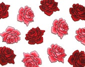 Iron on Rose Patches - Red and Pink - Embroidered Appliqué Motif - Superb Quality - 5.4cm x 4.5cm
