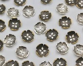 Lightweight Metal Cut Flower Shaped Buttons in Silver or Brass Approx 22mm