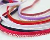 Pre-Folded Bias Binding with Crochet/Lace Edge Detail - Navy Blue, Dusky Pink, Lilac, Beige and White - 14mm/1.4cm Binding Trim