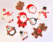 Christmas Iron on Motifs -- Father Christmas, Santa, Reindeer, Snowman, Snow Bear, Penguin, Rudolph Pacthes - Embroidered Appliqué patch