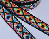 Great quality woven Aztec/Navajo/Tribal Elastic in two bright colour ways 2.5cm Width/25mmWidth/ Diamond Design