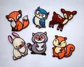 Woodland Animal Motifs - Iron On Embroidered Felt Woodland Animal Patches - Chipmunk, Fox, Owl, Deer, Racoon, Rabbit