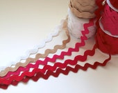Jumbo Ric Rac - Red, Hot Pink, White, Natural, Deep Red - Christmas Craft - 24mm wide