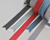 Woven Soft Touch Ribbon - Double Sided Printed Polka Dot - Retro, Vintage Colours - Red, Black, White, Blue Sage Green/Grey - 8888mm