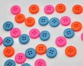High Quality Plastic Four Hole Sew Through Neon Buttons in Neon Pink, Neon Orange and Blue 15mm