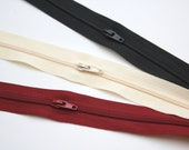Zip on the Roll - Black - Burgundy - Cream -  Hot Pink - Beige - Continuous Zipper Tape with Sliders