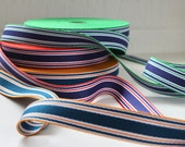 Striped Webbing - 3cm wide - Teal, Gold, Red, Royal Blue, Emerald Green - Perfect for Bag straps.