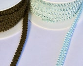 Elasticated Grosgrain Trim - Gathered Elastic in Duck Egg Blue or Olive Green