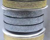 Elastic - Metallic Lurex Elastic Black/Gold, White/Gold, Black/Silver 20mm/2cm wide - Bra Strap Elastic/Waistband Elastic