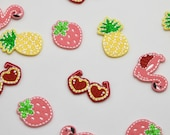 Embroidered Felt Mini Motifs Strawberry, Pineapple, Flamingo, Heart Glasses Iron-on Patches
